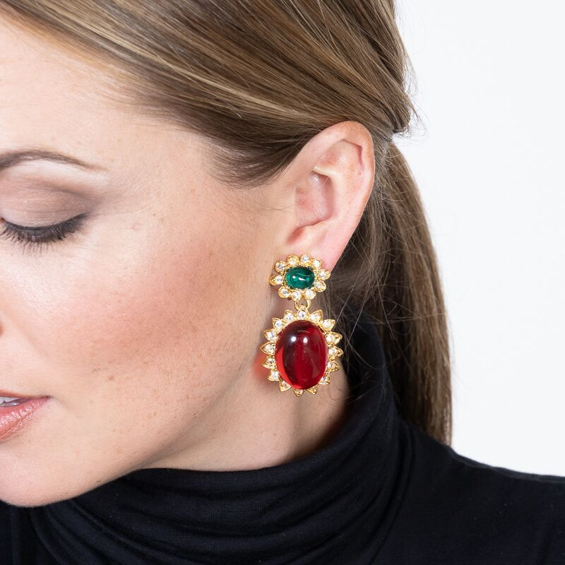 Emerald And Ruby Drop Clip Earrings