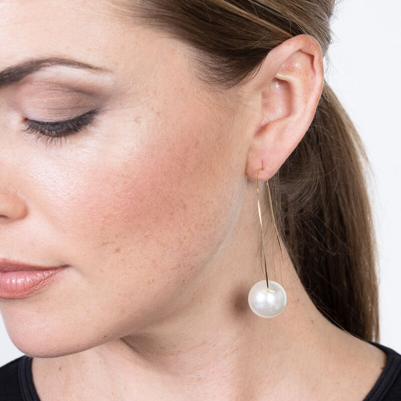 Allure/September - White Pearl Bottom Drop Wire Pierced Earrings