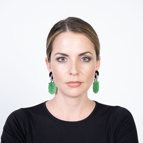 Carved Jade Drop Deco Clip Earrings