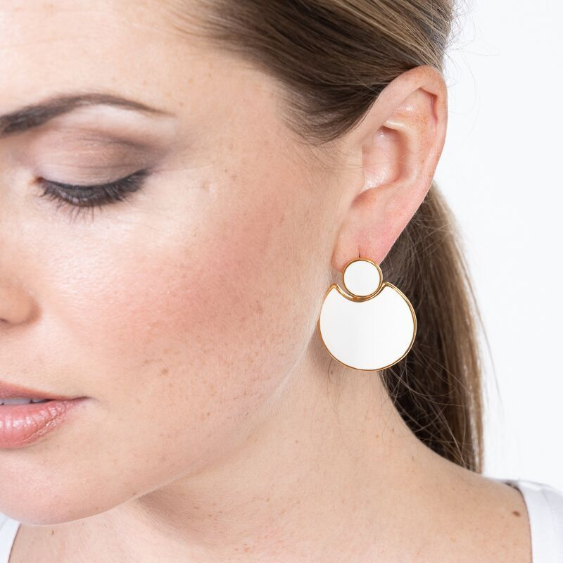 White Enamel Doorknocker Pierced Earrings
