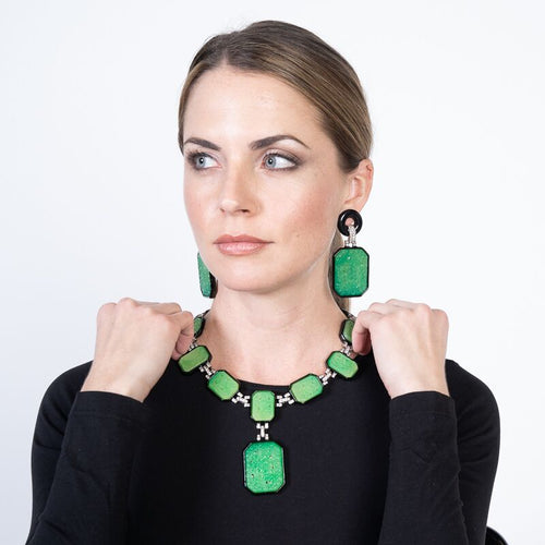 Large Jade and Black Art Deco Drop Clip Earrings