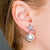 Silver Crystal Star Front 14MM White Pearl Pierced Earrings