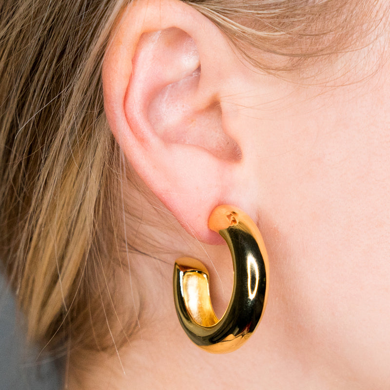 Polished Gold Tube Hoop Pierced or Clip Earrings