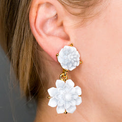 Carved Resin Flower Drop Clip Earrings