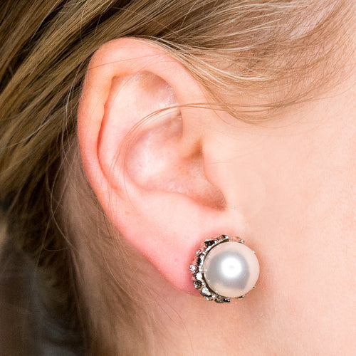 Rhodium/Crystal W/ Pearl Center Pierced Earrings