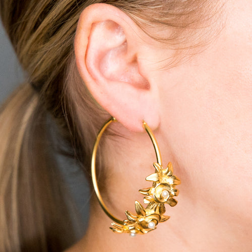 Satin Gold Half Hoop Flower Pierced Earrings