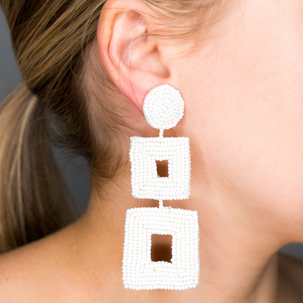 White Seed Bead Open Double Square Shape Drop Pierced or Clip Earrings