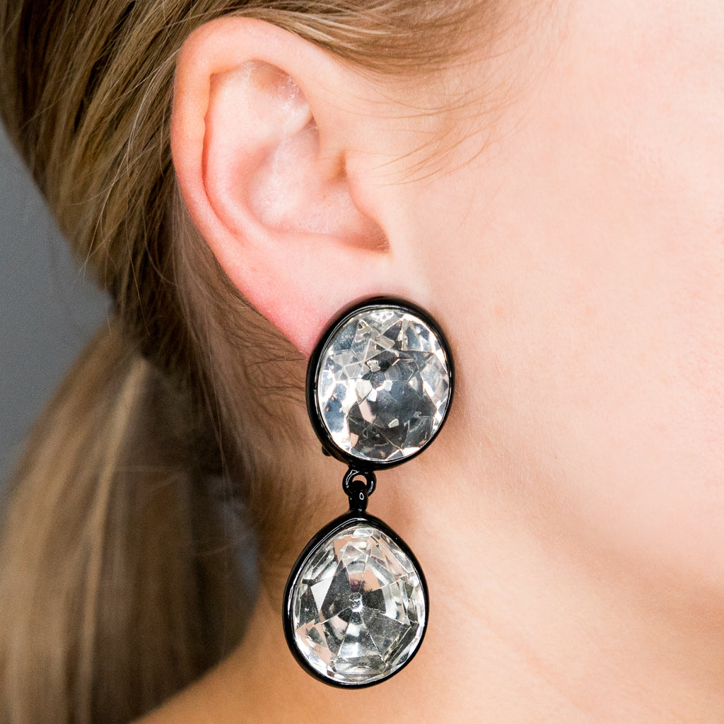 Black and Crystal Headlight Drop Clip Earrings