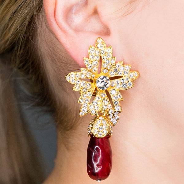 Gold Crystal Flower Top Ruby Teardrop Clip Earrings