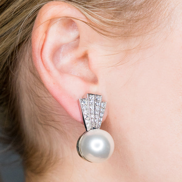 Crystal Top with Pearl Bottom Clip Earrings