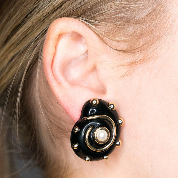 Black with Gold Dots and Pearl Center Shell Clip Earrings