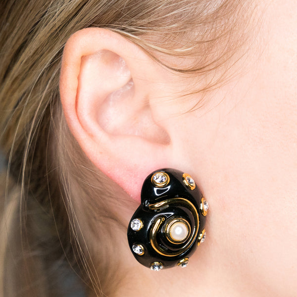Gold Trim Black and Crystal Dots with Pearl Center Shell Clip Earrings