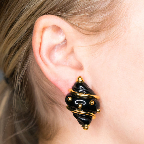Black Small Shell Earring with Gold Dots