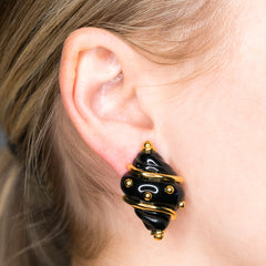 Black Small Shell with Gold Dots Clip Earrings