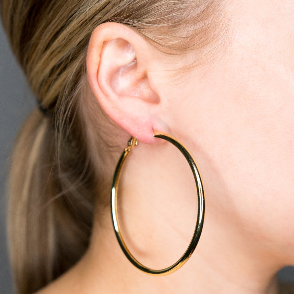 Small Gold Hoop Pierced Earrings