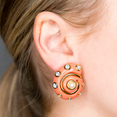 Gold Trim Coral with Crystal Dots and Pearl Center Shell Clip Earrings