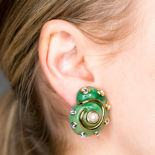 Gold Trim Jade/Crystal Dots Pearl Center Snail Clip Earring