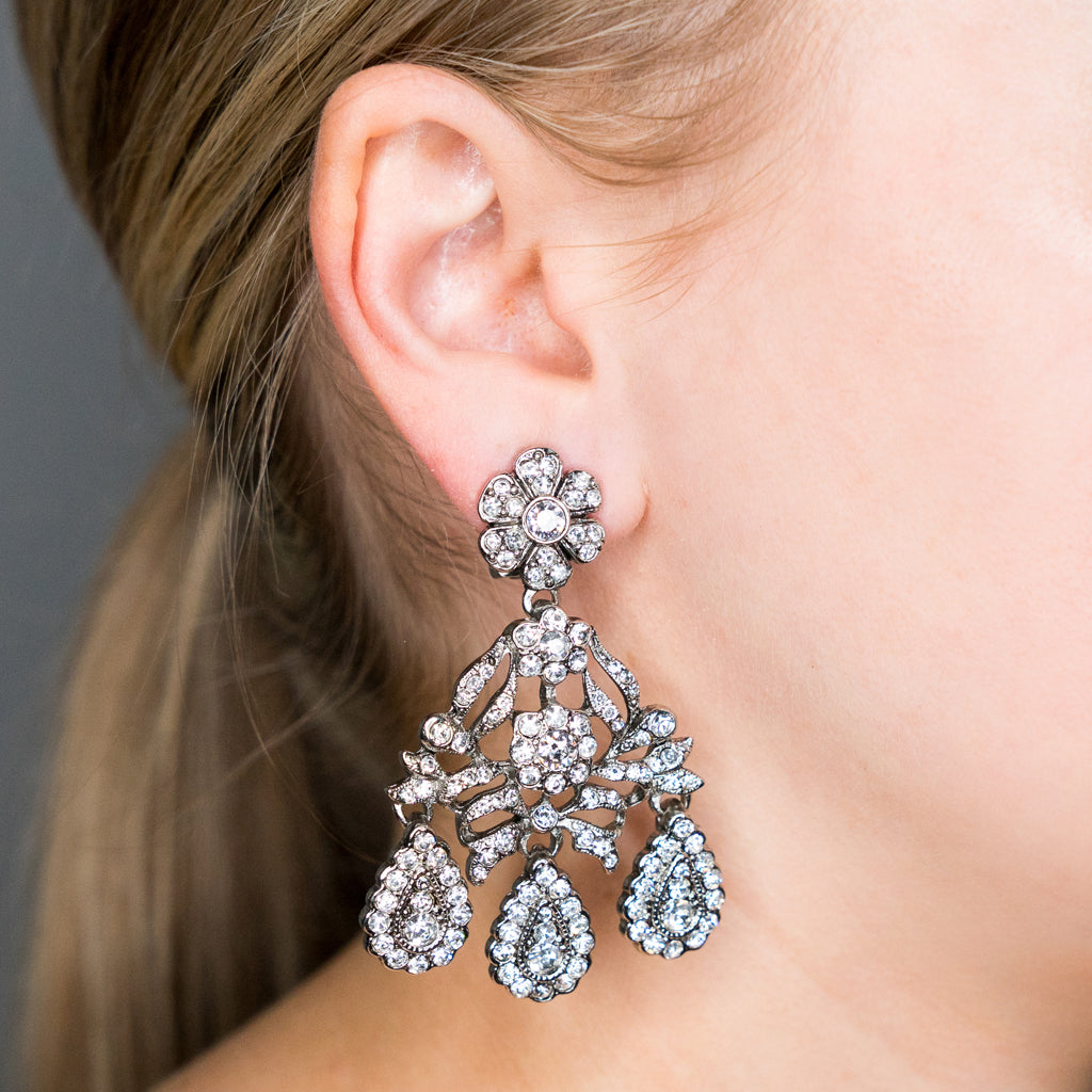 Antique Silver and Crystal Drop Clip Earring