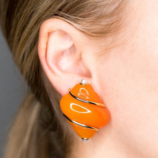 Amber Shell Clip Earrings