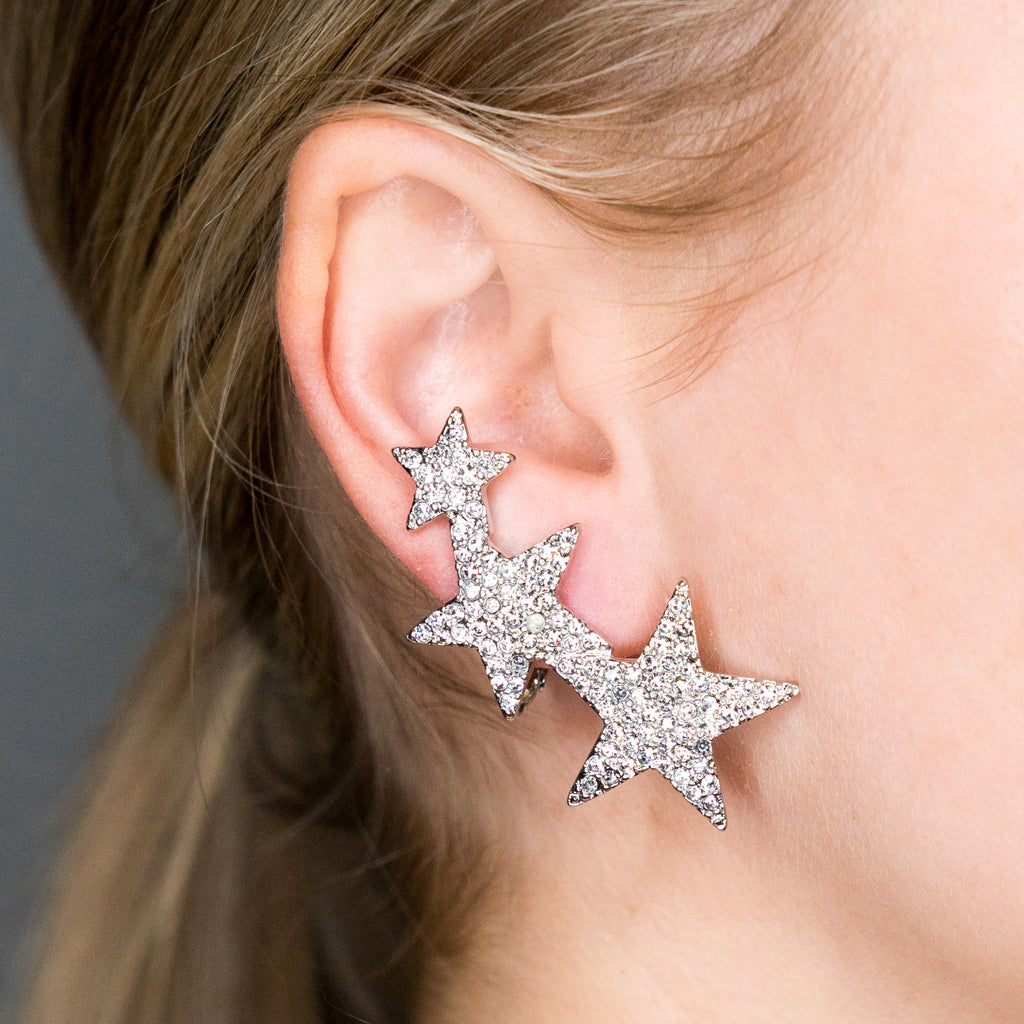 Rhodium Crystal Three Star Clip Earring