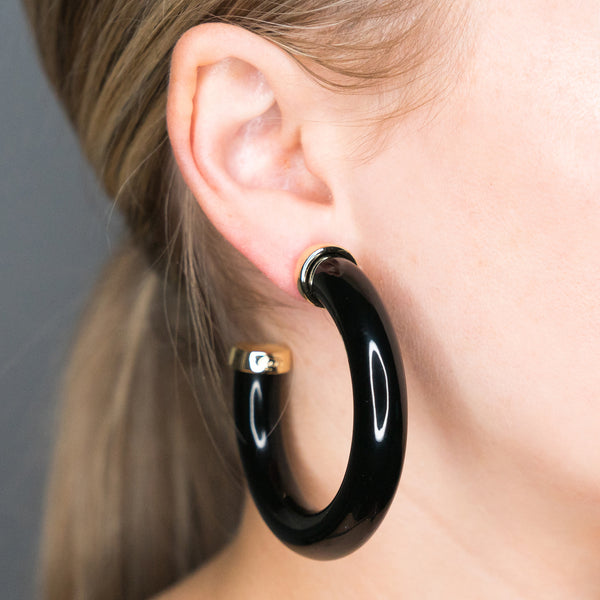 Large Polished Black Resin Gold Ends Hoop Pierced Earrings