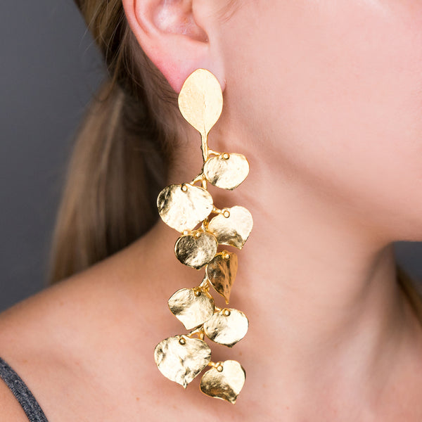 Satin Gold Leaf Pierced or Clip Earrings