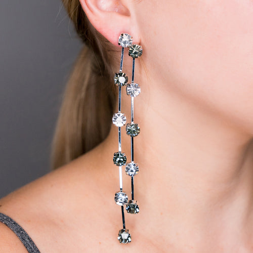 2 Row Silver, Black & Crystal Drop Pierced or Clip Earrings