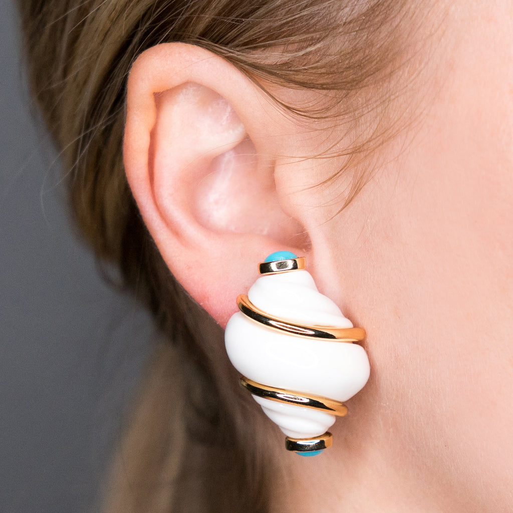 Polished Gold White Shell with Turquoise Tip Clip Earrings