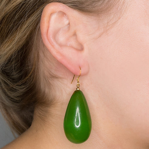Green Teardrop Fishhook Pierced Earrings