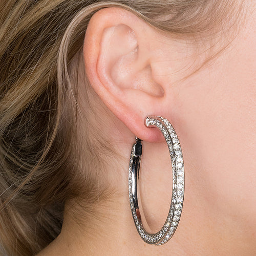 Silver And Crystal Pave Hoop Pierced or Clip Earrings