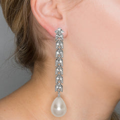 Silver And Crystal Cultura Pearl Pierced or Clip Earrings