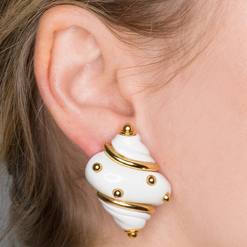 White Shell Clip Earrings