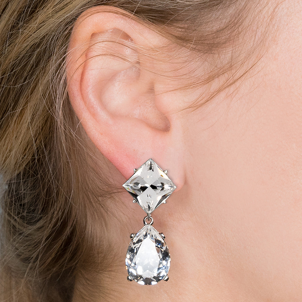 Paris Jackson in the Silver And Crystal Teardrop Pierced or Clip Earrings