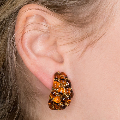 Tortoise Cabochon Half Hoop Clip Earrings