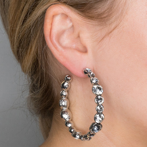 Silver and Crystal Hoop Pierced Earrings