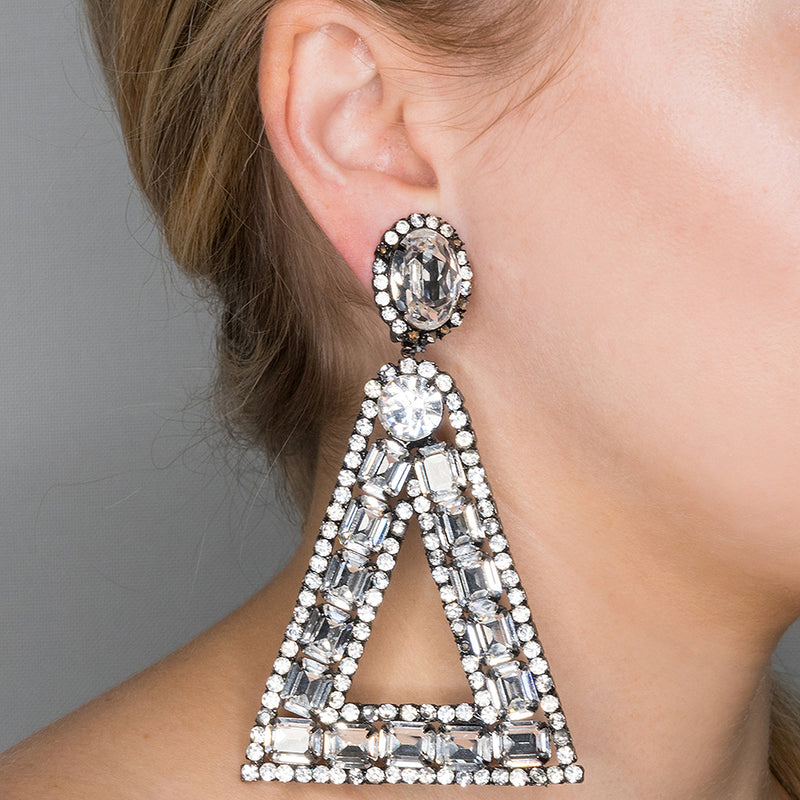 Large Triangle Drop Clip Earrings