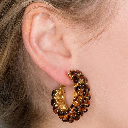 Tortoise Cabochon Hoop Pierced or Clip Earrings