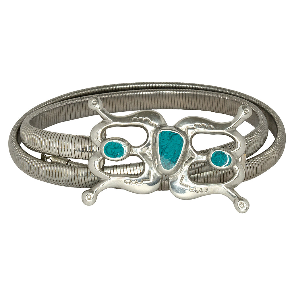 Silver Stretch Belt With Turquoise Buckle