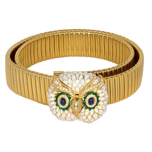 Owl Buckle Gold Stretch Belt