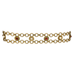 Pearl And Ruby Rhinestone Belt