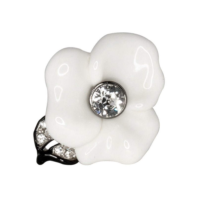 Silver & White Flower Ring