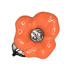 Silver & Coral Flower Ring