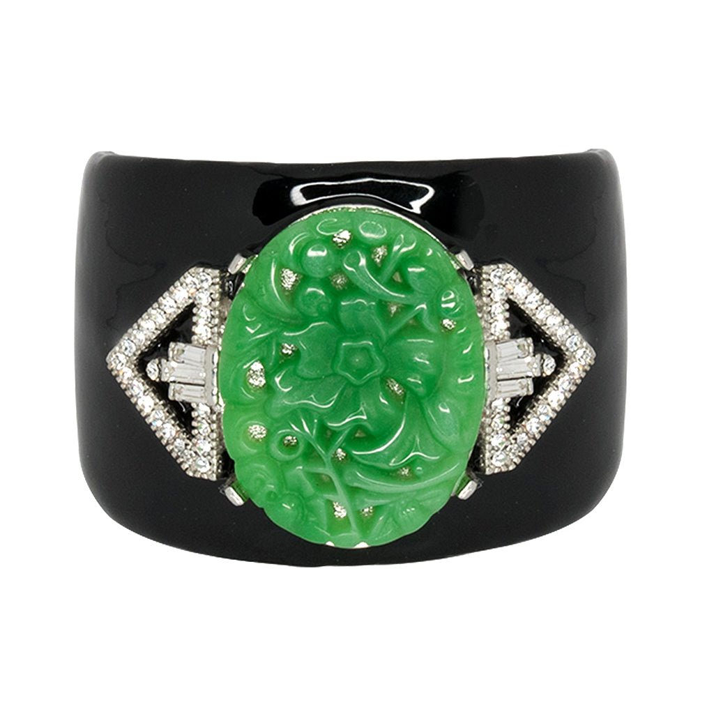 Black Enamel & Carved Jade Cuff