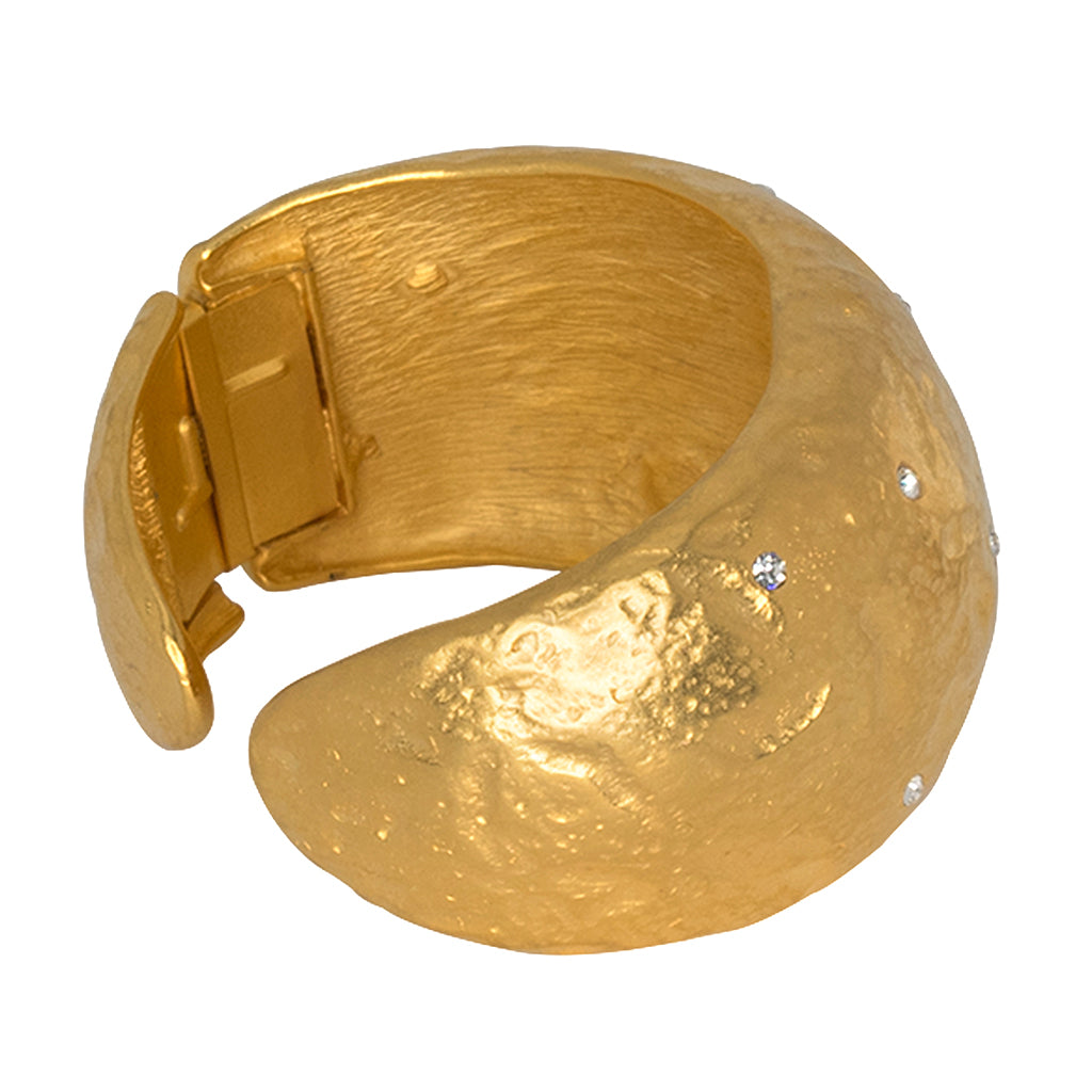 Satin Gold & Crystal Cuff