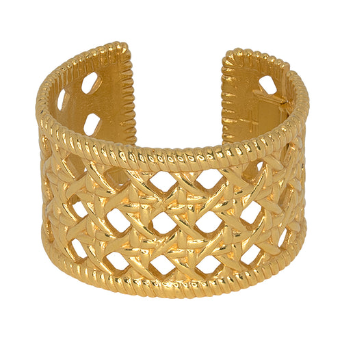 Polished Gold Rattan Cuff