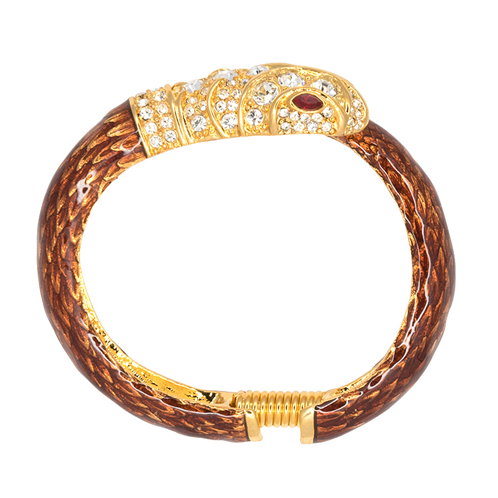 Brown & Crystal Snake Bracelet