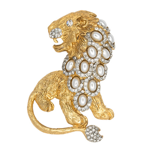 Pearl & Gold Lion Pin