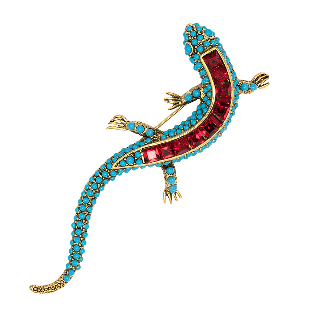 Kenneth Jay Lane Turquoise Ruby Newt Pin Turquoise/ruby bSGfbUOk