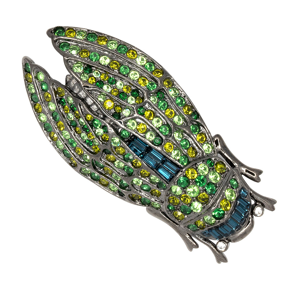 Kenneth Jay Lane Crystal Cicada Brooch Silver/black FdCtb