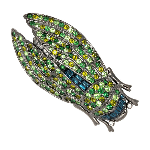 Gunmetal & Green Large Cicada Pin